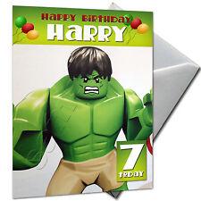 Gli Avengers-HULK-Personalizzato Compleanno Carta di grandi dimensioni A5 + BUSTA