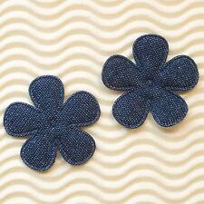 "US SELLER - 60pc x 1.5"" Padded Blue Denim Spring Flower Appliques for Bows ST556"