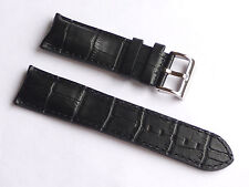 High Quality Lug 24mm Black Genuine Leather Alligator Strap Fits All Men's Watch