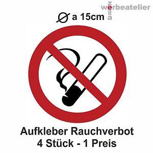 4 x Aufkleber RAUCHVERBOT rund Dm 15cm  wetter-UV-fest Nichtraucher Schild #G2
