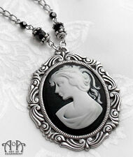Gothic Antique Silver CAMEO PENDANT NECKLACE Victorian Style Black White D10