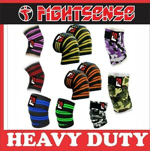 FIGHTSENSE Gym Weight lifting Knee Wraps Bandage Straps Guard Powerlifting Pair