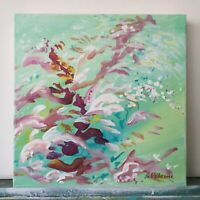 "Abstract Floral Original Painting Acrylic on canvas 10""x10""x1.5"" Green Pink Art"