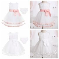 Newborn Baby Girls Dress Party Birthday Christening Wedding Dress with Bloomers
