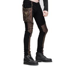 Steampunk Men  Long Jean Trousers Gothic High Waist Personality Pants Streetwear