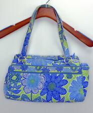 Vera Bradley medium blue and green shoulder bag  silver hardware  euc