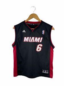 Miami Heat Lebron James #6 Basketball Jersey Junior Size L Black Logo NBA V Neck