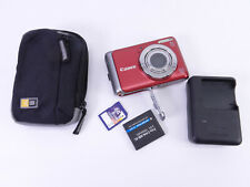 Canon PowerShot A3100 IS 12.1MP Digital Camera Red w/ charger, battery & SD card