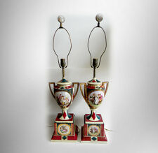 Royal Vienna PAIR of tall lamps with gold accents - FREE SHIPPING