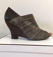 NAYA women's Peep Toe Gray/Brown Suede Ankle Boot, High Heel Size 10.5