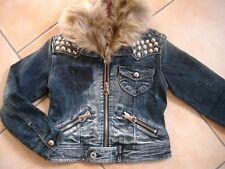 (H654) Gefütterte Nolita Pocket Winter Jeans Jacke + Fellkragen & Nieten gr.116