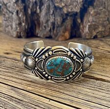 Navajo Harry Begay Royston Turquoise & Ingot Silver Cuff ~ Signed ~