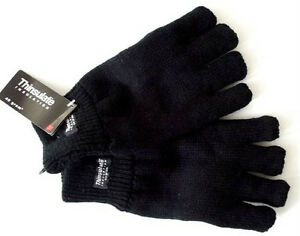 Mens Ribbed Winter Thermal Thinsulate Fingerless Everyday Gloves Cuff Black Grey