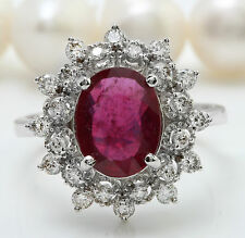 3.40CTW Natural Red Ruby and DIAMOND in 14K Solid White Gold Women Ring