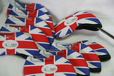 10 Golf Mad Neoperene Golf Iron Head Covers Union Jack Flag Neoprene Headcovers
