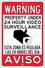 Warning 24 Hour Video Surveillance & SPANISH Aviso Esta Zona es 8x12 Alum Sign