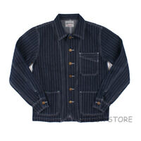 Railroad Denim Jacket Vintage Striped Men's Work Jean Chore Casual Outwear