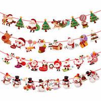 Christmas Hanging Banner Snowman Santa Claus Elk Sock Xmas Party Decor Ornaments