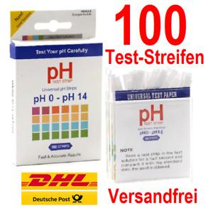 100x pH Test Streifen Wassertest Haushalt Trinkwasser Pool Aquarium Teich 0-14✅