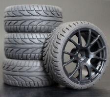 Komplett Reifen (4 St.) Gummi für 1:10 ON ROAD Traxxas Tamiya TT HSP Carson RC