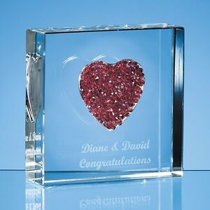 Personalised Engraved Red Diamante Heart Glass Block - Wedding Anniversary Gift