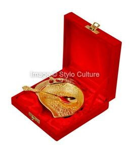 Mango Shaped Indian Design Gold Silver Plated Brass Platter For Home Decor