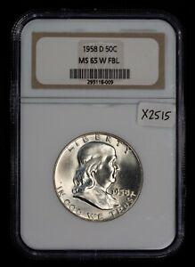 1958-D 50c Franklin Half Dollar - Rare Gen WHITE Slab - NGC MS 65 FBL - X2515