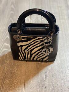 Authentic Christian Dior Lady zebra ponyhair Patent Leather Mini Lady Bag