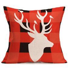 Christmas Deer Red Sofa Plush Pillow Case Cushion Cover Home Decor New