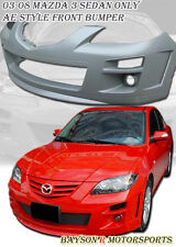 AE Style Front Bumper + Fog Lights Fits 04-09 Mazda 3