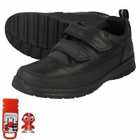 JUNIOR BOYS GLOFORMS CLARKS LEATHER RIPTAPE SCHOOL TRAINERS SHOES REFLECTACE