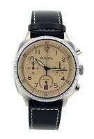 Bulova Men's 96B231 Chronograph Black Genuine Leather Beige Dial Watch