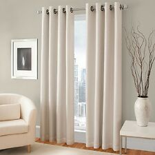 TWO HEAVY THICK panels FOAM BLACKOUT BEIGE grommet window curtain LINED k92