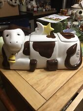 1999 Avery Creations 3 Piece Cow Canister Set Cookie Jar Got Milk?