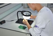 8X LED Table Desk Lighted Magnifier Large Magnifying Glass PCB Repair Magnifier
