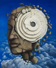 Pi Crop Circle Original Signed Fantasy Surrealism Original Oil Painting 30 x 36""