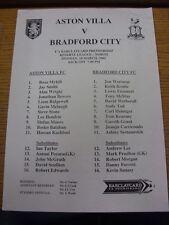 18/03/2002 riserve Aston Villa V BRADFORD CITY RESERVES (singolo foglio). l'articolo a