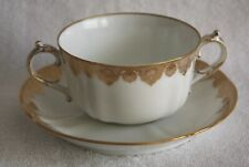 Vintage LImoges Two Handled Tea/Coffee Cup and Saucer