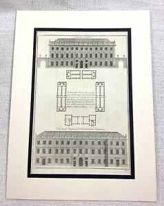 1756 Antique Imprimé St Bartholomew's Hôpital London Barts Building Ancien Gravé