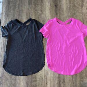 Ivivva by Lululemon Lot of 2 Tops Girls Size 10 Shirts Gray Pink crisscross Tee