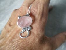 Rose Quartz Cat necklace, 11.55 carats, 18 inches, 4.5 grams of 925 Sterling Si
