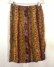 as is Simply Heritage tribal pattern India 100% Rayon Pencil Skirt sz L