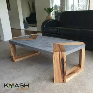 Concrete coffee table with Vic Ash timber inlay, handcrafted unique design