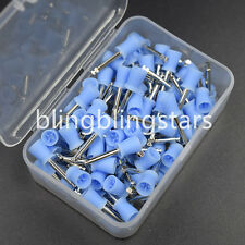 100 Pcs Dental Polishing Polish Prophy Cup Brush 4 Webbed Blue Color Latch Type