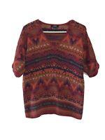 Chaps Ralph Lauren Size Large Red Aztec Print Sweater Cotton Blend