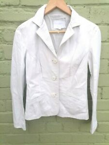 Vintage white soft leather fitted jacket uk 10 12 lined retro