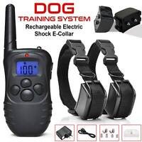 2 Dogs Electric Shock Training Collar LCD Rechargeable LCD 100LV Collar Remote