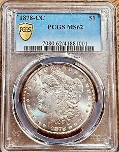 1878-CC MS62 Morgan Silver Dollar PCGS Gold Shield Graded Certified U.S. 1$ Coin