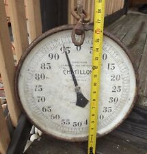 ORIGINAL ANTIQUE  CHATILLON GLASS FACE HANGING SCALE  300 HUGE STEAMPUNK