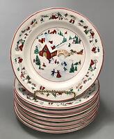 Set of 8 Farberware #391 White Christmas 95 Holiday Bread Dessert Plates #2 AA